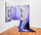 Alex Da Corte, <em>O K HOLE (BACON TEAR/DREAMWORK DRIP), 2013. Anodized metal frames, mirror, acrylic, pigment print, vaseline, digitally printed flag