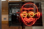 Divya Mehra, I will split up my Father's empire (after N.W.A.),, 2011. Neon sculpture, 45 x 57 x 4 in