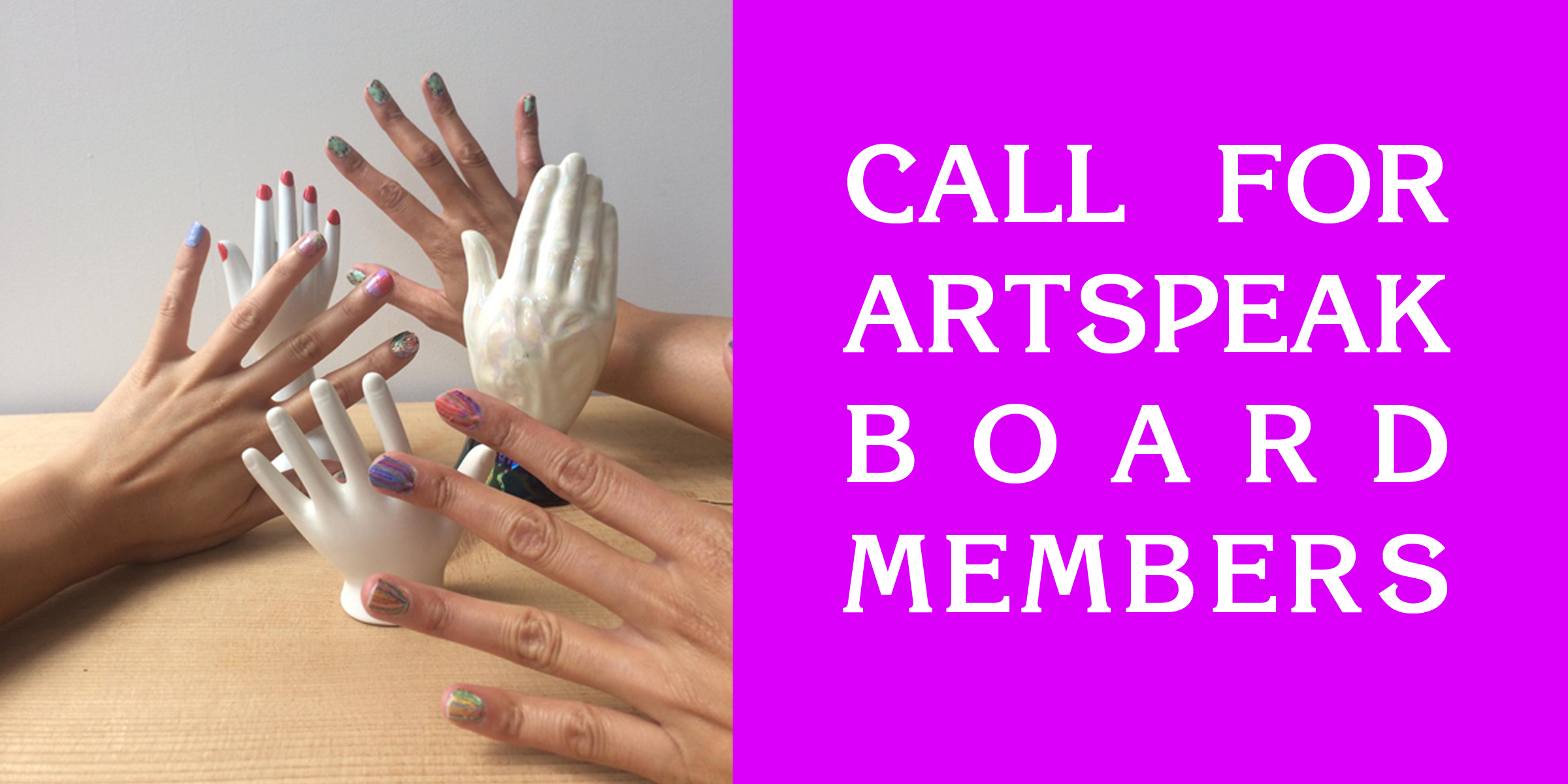 On the left, three hands and three mannequin hands are visible with colourful nail polish. On the right, white text on hot pink background reads